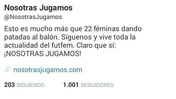 Dos días después de cumplir ocho meses, Nosotras Jugamos supera los 1000 seguidores en Twitter.