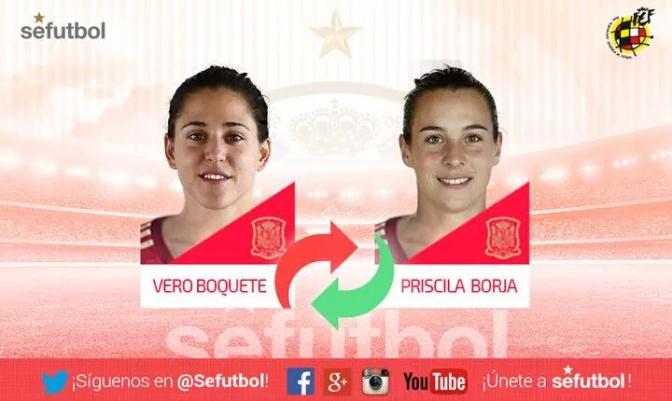 Foto @sefutbol: Priscila Borja, sustituta de la lesionada Vero Boquete en la primera lista de Jorge Vilda.